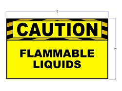 3 X 5 Caution Flammable Liquids Safety Stickers/Decals - Heavy Duty Vinyl - Yellow and Black Durable Industrial Safety Stickers
