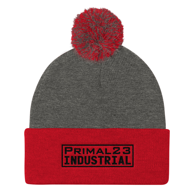Primal23 Industrial - Black Embroidered Logo - Sportsman Red and Heather Gray Knit Beanie with Pom Pom