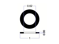 1 OD X 5/8 ID X 1/16 Thickness Rubber Washers - EPDM70 Series