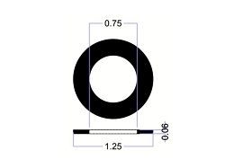 1 1/4 OD X 3/4 ID X 1/16 Thickness Rubber Washers - EPDM70 Series