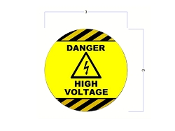 Safety Stickers - DANGER HIGH VOLTAGE Stickers - 3 Inch Round