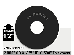 2 OD X 5/8 ID X 1/2 Thickness Oil Resistant Neoprene Rubber Washers - Proto