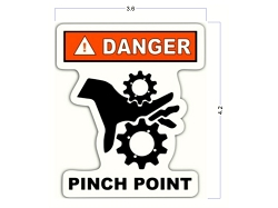 Modern Die Cut Pinch Point Safety Identification Stickers - 3 X 4 Inch - Safety Decals