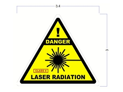 Modern Industrial Safety Stickers - DANGER - CLASS 4 LASER Radiation Stickers - 3 Inch Triangle