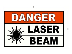 3 Inch X 5 Inch DANGER LASER BEAM Safety Stickers/Decals - Heavy Duty Vinyl - Red, White and Black Durable Industrial Safety Stickers