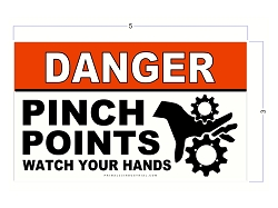 3 Inch X 5 Inch DANGER Pinch Point Safety Stickers/Decals - Vinyl - Red, White and Black Durable Industrial Safety Stickers