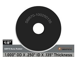 1 X OD 1/4 ID X 1/8 Thickness - Heavy Duty Abrasion Resistant SBR Rubber Washers - SBR70 Series