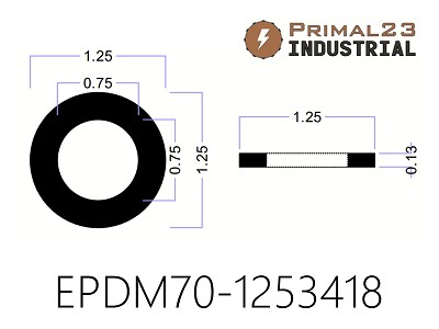"EPDM Rubber Washers - 1 1/4"" OD X 3/4"" ID X 1/8"" EPDM Rubber Washers - 70 Duro"