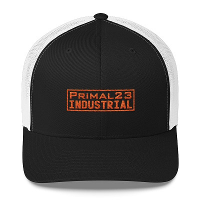 Primal23 Industrial - Orange Embroidery Logo - Mesh Back Trucker Cap