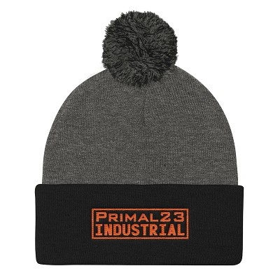 Primal23 Industrial - Orange Embroidered Logo - Sportsman Heather Gray and Black Knit Beanie with Pom Pom