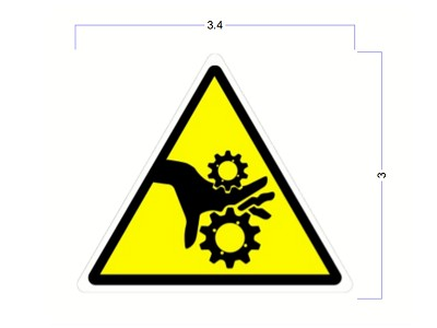 "Modern Industrial Safety Stickers - Pinch Point Safety Identification Stickers - 3"" Triangle"